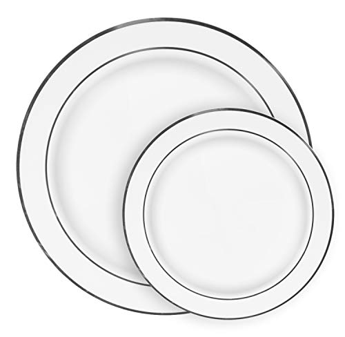 Ilyapa 60 Silver Rim Plastic Plates Set - Bulk White Silver Rimmed Dinner & Salad Disposable Plates for Wedding or -