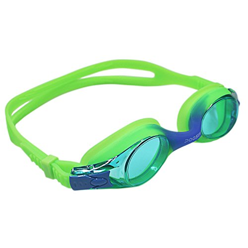 Junior Kids swim goggle ,No Leaking Anti Fog UV Protection kid Swim Goggles Wide Face with Free Protection Case for Kids Early Teens (Green with - Goggles Green Swimming