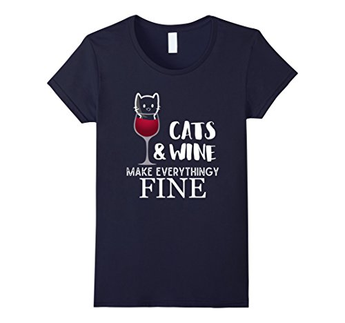 Women's Cats And Wine Make Everything Fine  Kitty in a Gl...