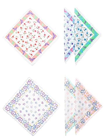 Women's Two Sets of Floral Prints (Butterfly Flowers) 100% Cotton Handkerchiefs with Scalloped Edge 12-Piece (Cheap Butterfly Stuff)