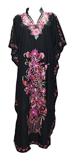 Odishabazaar Cotton Kaftan Kashmiri Embroidered Maxi Long Dress for Women (Multi-1899a)