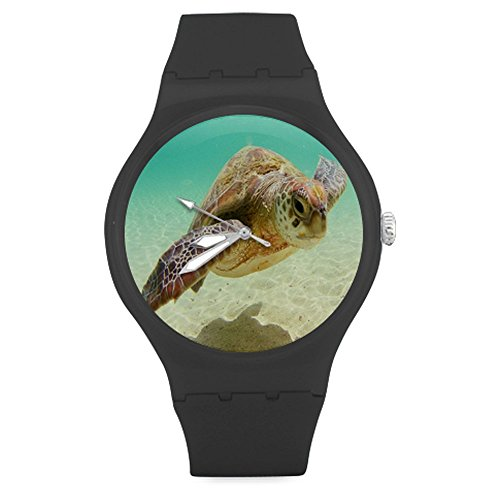 Christmas Gift Fashion Custom Sea Turtle Ocean Marine Life Unisex Round Rubber Sport Watch,Watch Face Diameter: - Channel Watch Marine
