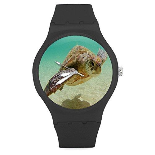 Christmas Gift Fashion Custom Sea Turtle Ocean Marine Life Unisex Round Rubber Sport Watch,Watch Face Diameter: - Marine Watch Channel
