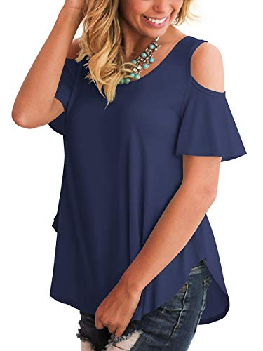 Summer Tops Women Trendy T Shirt Short Sleeve Round Neck Non See Through Navy Blue M ()