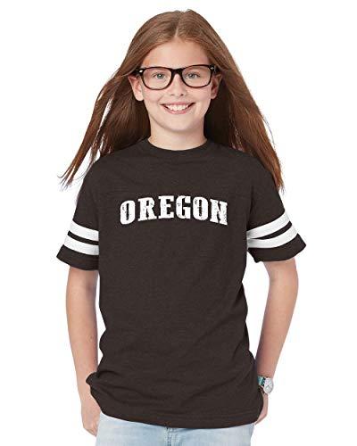 Oregon State Flag Traveler Gift Youth Unisex Football Fine Jersey Tee (YLSMG) Smoke -