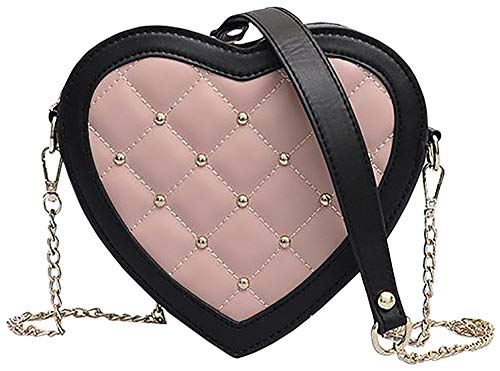 QZUnique Women's PU Leather Handbag Heart Shaped Crossbody Bag Zipper Shoulder Bag Rivet Quilted Bag ()