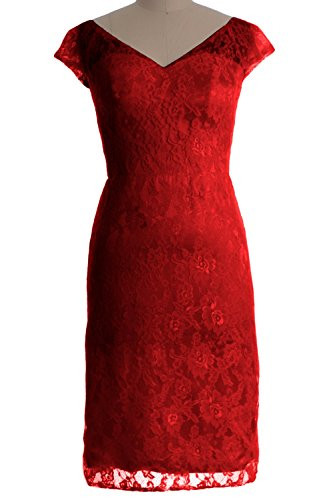 MACloth Women Customized V Neck Lace Short Mother of Bride Dress Cocktail Gown Burgundy