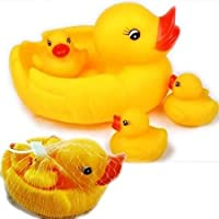 Generic Duck Family Baby Bathing Toys 4 Set Yellow Rubber Squeaky Lovely Ducklings