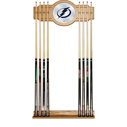 Trademark Gameroom NHL Tampa Bay Lightning Cue Rack with Mirror - Nhl Logo Cue Rack