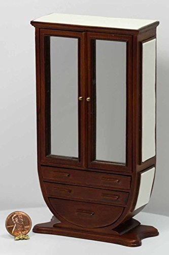 Dollhouse Miniature Art Deco Mirrored Armoire in Walnut