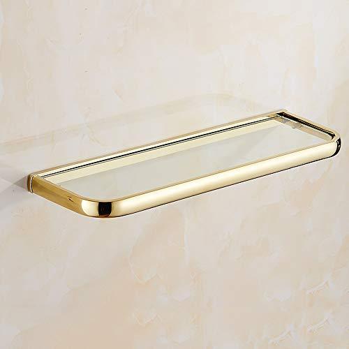 (Hvauty 1 Tier Gold Bathroom Corner Glass Shelf Triangle Wall Mount Shower Shelves Tempered Glass Copper Storage Stand Hanging Organiser Holder Shower Caddy Brass Floating Shelving )