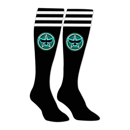 (Yu2Ye Unique High Long Stockings with Teal Crow Pentacle Printing)