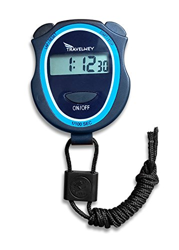 Travelwey Digital Stopwatch - No Bells, No Whistles, Simple Basic Operation, Silent, Clear Display, ON/Off, Child Friendly, AAA Batteries (Included), Black