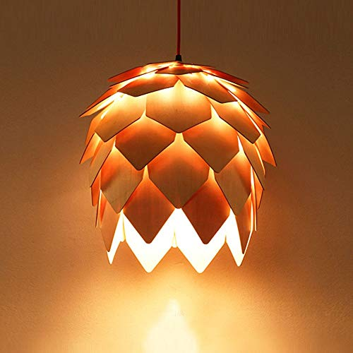 - Tritow Creative Solid Wood Ceiling Pendant Light Fish Line Shape Single Head Suspension Light Wood Art Pine Cone Slice Hanging Lamp Dining Room LED Decorative Lighting Chandelier (Size : 4040cm)