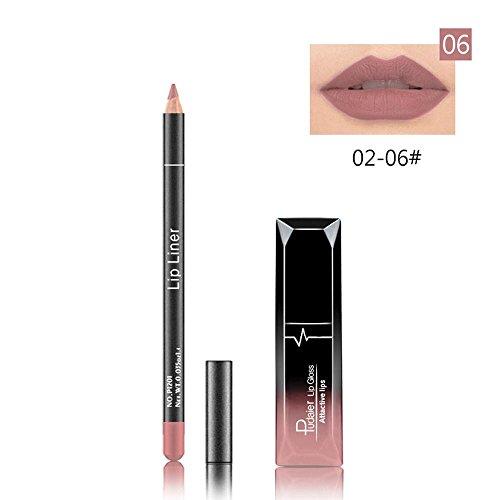 Hometom Long Lasting Lipstick Waterproof Matte Liquid Gloss Lip Liner Cosmetics Set New (F)