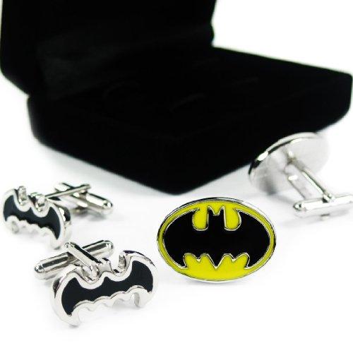 kilofly Cufflinks Combo [Set of 2 pairs] - Double Batman, with Velvet Gift Box from kilofly