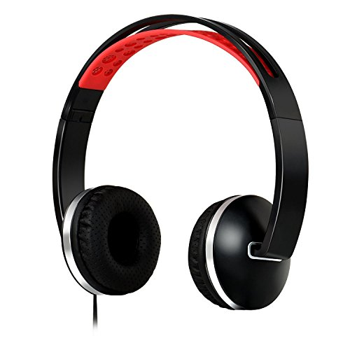 Headphones with Volume Control and Long Cord,AUKAY Foldable Headphone Compatible with Amazing Sound plus Powerful Bass, Soft Sweat Proof Earpads for iPhone iPad Android Tablets Compute-Black