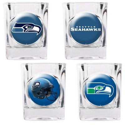 Seattle Seahawks - 4 Piece Square Shot Glass Set w/Individual Logos (Square Piece 4 Nba)