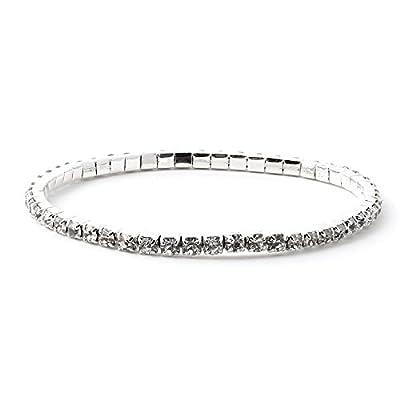 Topwholesalejewel Silver Crystal Square Shape Rhinestone Strand Style Stretch Bracelet