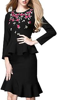 Goahead Women's Black Flower Embroidery Formal Office Business Shirt Jacket Skirt Suit Set with Li