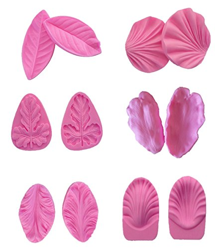 Embossing Petals - (Set of 6)Petal Veiner Leaf Cake Fondant Mold, Various Flowers Pattern Gumpaste Embossing Mold Cake Decorating Tools for Sugarcraft,Cupcake Topper, Polymer Clay