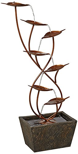 Ashton Curved Leaves 41'' High Copper Finish Floor Fountain by John Timberland