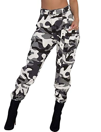 - SOMTHRON Women's Loose Tie Front Camouflage Hip Hop Harem Cargo Pants 5XXL Casual Belted Camo Swaggy Sweatpants Leggings(15378WH-3XL)