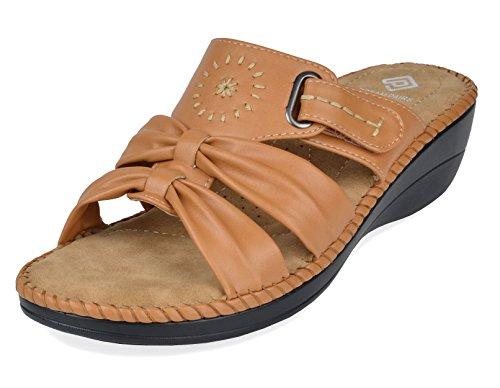 (DREAM PAIRS Women's Truesoft_08 Camel Low Platform Wedges Slides Sandals Size 7 B(M) US)