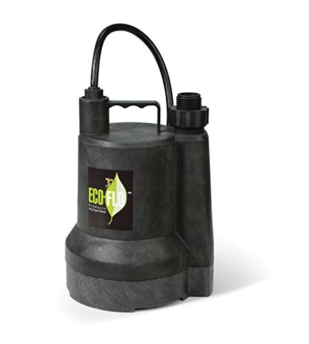 ECO-FLO Products SUP55 Manual Submersible Utility Pump, 1/4 HP, 1,980 (0.25 Hp Water)
