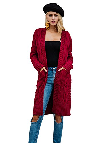 Simplee Women's Winter Warm Casual Loose V Neck Cardigan Sweater with Pockets, Burgundy, US 0/10 - Burgundy Cardigan Sweater
