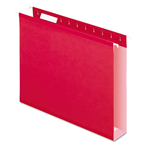 Pendaflex 4152X2RED Reinforced 2-Inch Extra Capacity Hanging Folders, 1/5 Tab, Letter, Red, 25/Box