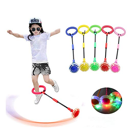 GOBEAUTY Exquisite Fun LED Toy Flashing Jumping Foldable Ring Colorful Ankle Skip Jump Ropes Sports Swing Ball Child Plastic Sport Toys -