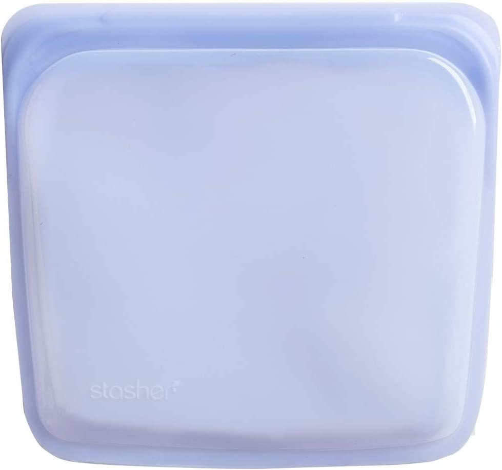 Stasher Re-Usable Food-Grade Platinum Silicone Sandwich Bag for Eating from/Cooking, Freezing and Storing In/Organising/Travelling, 19.05 cm x 19.05 cm, Amethyst