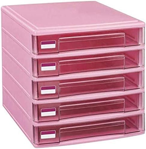 ファイルキャビネット5引き出しデスクトッププラスチック製の収納ボックスファミリーオフィスキャビネットデスクトップアーカイブストレージ・マネージャーホームオフィス用家具 ファイリングキャビネット (Color : Pink)