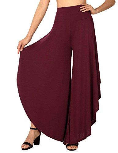 Flowy vita donna loose Casual A di FlowerDas Ruffle fit da Pantaloni Pantaloni Wine Red alta palazzo wRYCIqAx