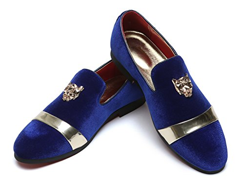 Mens Velvet Loafers Slippers with Gold Buckle Wedding Dress Shoes Slip-on Smoking Flats Black Blue Red Blue J33KomdD