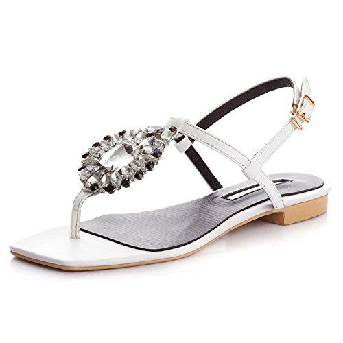 Allhqfashion Dames Vierkante Open Teen Rundlederen Stevige Sandalen Met Glas Diamant Wit