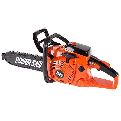 Toy Chainsaw for Boys and Girls- Outdoor Power Tool for Pretend Play-Battery Powered with Pull Cord, Rotating Chain and Realistic Sounds by Hey! Play!