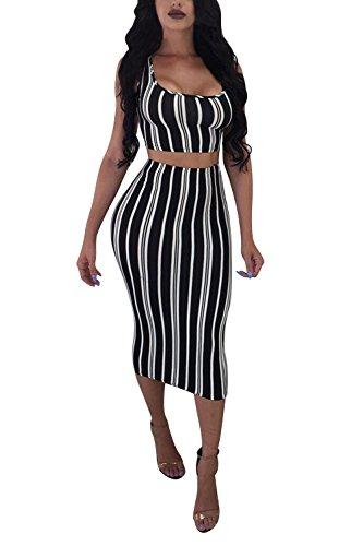 LaSuiveur Women's Two Piece Outfits Stripe Crop Top Midi Skirt Bodycon Dress Black ()