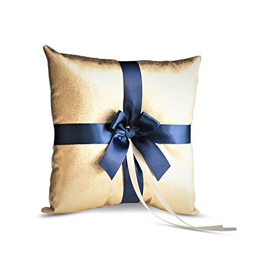 Gold Ring Bearer Pillow - Alex Emotions GOLD & NAVY BLUE Wedding Ring Bearer Pillow and Flower Girl Basket Set – Satin & Ribbons – Pairs Well with Most Dresses & Themes – Splendour every Wedding Deserves