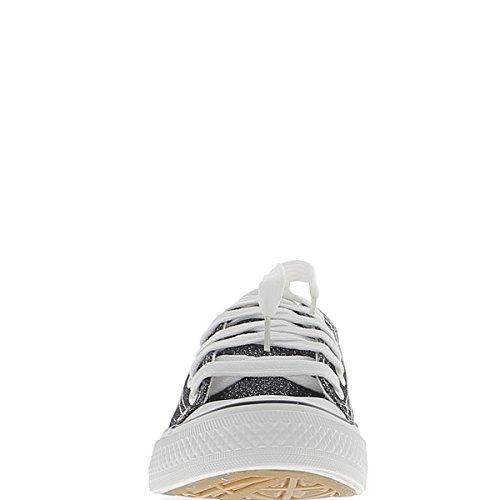 Piatto sneakers donna tela suola di bianco e nero lucido