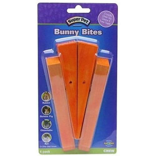 hot sale Super Pet Bunny Bites Pre-Drilled Wood Chew Treats for Pet Critters (Carrot, 4 pack)