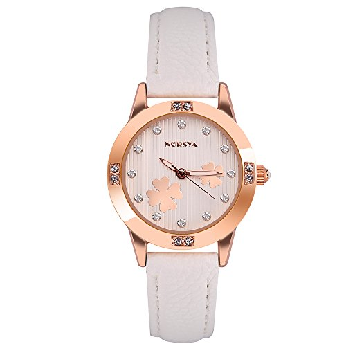 Bozhan Girls Accessories Waterproof Analog Watches with Crystal Dial and White PU Leather Watch Band for Ladies (White Flower) (White Dial Polished)