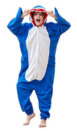Shark Onesie Pajamas One-Piece Adult Animal Cosplay Costume Shark L Blue ()