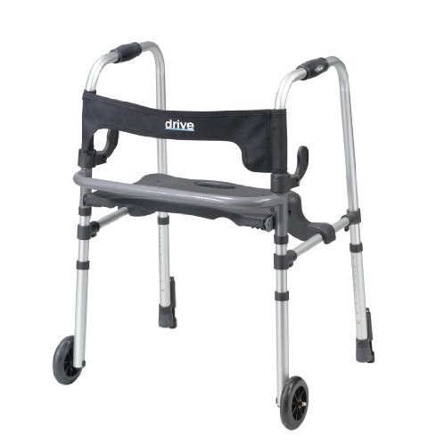 Drive Medical Clever-Lite LS Rollator Walker with Seat and Push Down Brakes, - Equipment Walker