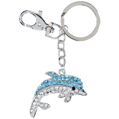 Puzzled Dolphin Sparkling Charm Elegant Key Chain, - Puzzle Peg Puzzled