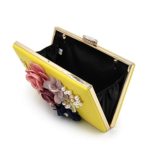 Handbag Yellow Purse Wedding SUNROLAN Flower Bag Women's Party Evening Clutch w1q4SzX