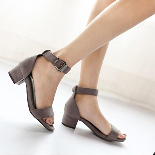 COOLCEPT Mujer Moda Chunky Heel Strappy Sandalias Chicas Colegio Punta Abierta Zapatos Gris