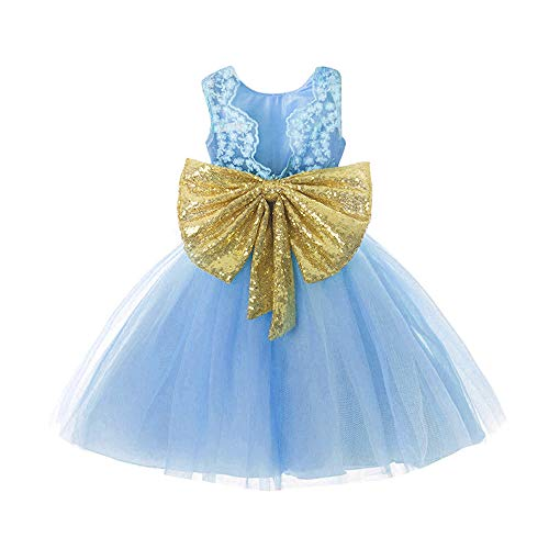 Autumn Gown (FKKFYY Dress Little Girls 6X 7 Year Bridesmaid Lace Dresses Ball Gown Size 6 7 Summer Autumn Wedding Pageant Dress Kids Blue Lace Tutu Tulle Girl Special Occasion Dresses Sleeveless (Blue 140))
