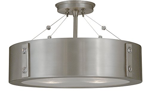 Framburg 5390 SP/PN 4-Light Oracle Flush/Semi-Flush Mount, Satin Pewter/Polished Nickel ()